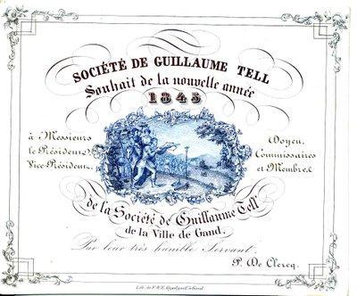 """Carte Porcelaine de la Société """"Guillaume Tell"""" de Gent (1345)"""