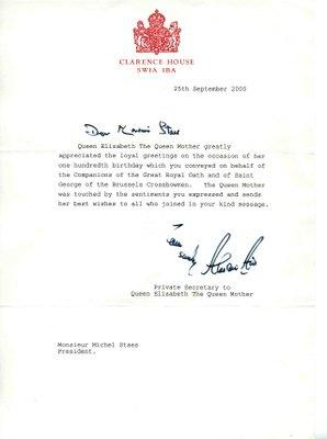Lettre du Secrétaire Privé de S.M. la Reine Elizabeth d'Angleterre