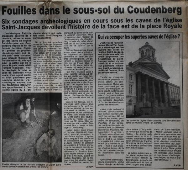 Fouilles au Borgendael (La Lanterne 23 janvier 1994