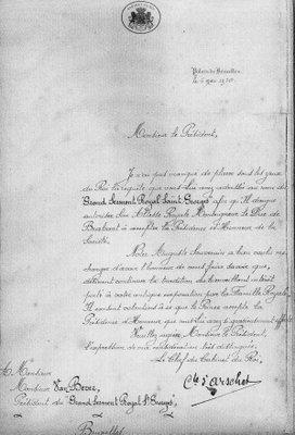 Lettre du Palais Royal (6 mai 1920)