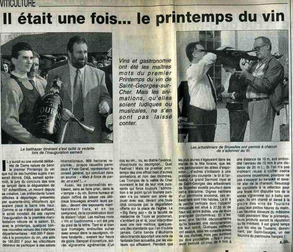 Printemps du vin (La Nouvelle République Centre-Ouest 9 avril 1996)