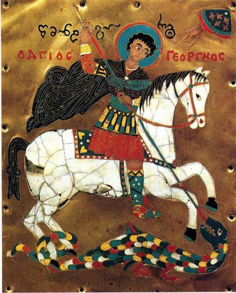 St-Georges et le dragon - Email coisonné. Anonyme Géorgien