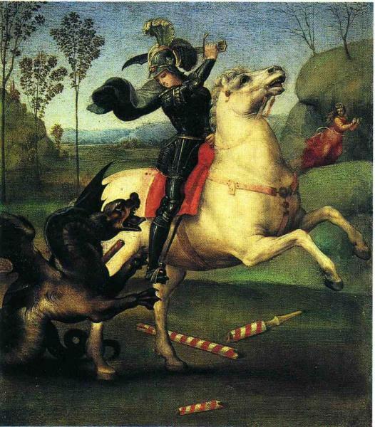 St-Georges et le dragon, Raphaël (1505)