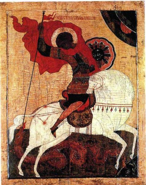 St-Georges et le dragon - Icône, Anonyme russe, Vovgorod