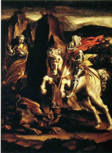 St-Georges et le dragon, Huile sur toile