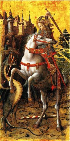 St-Georges et le dragon - Tempera sur bois