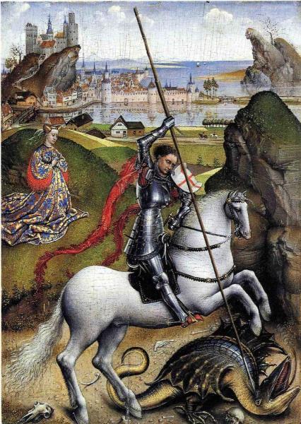 St-Georges et le dragon - Huile sur bois
