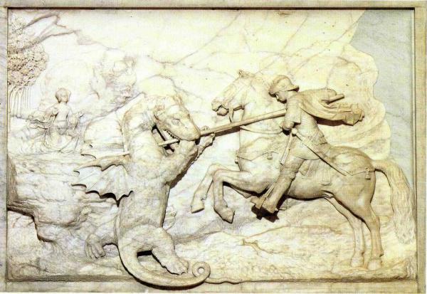 St-Georges combattant le dragon, Marbre