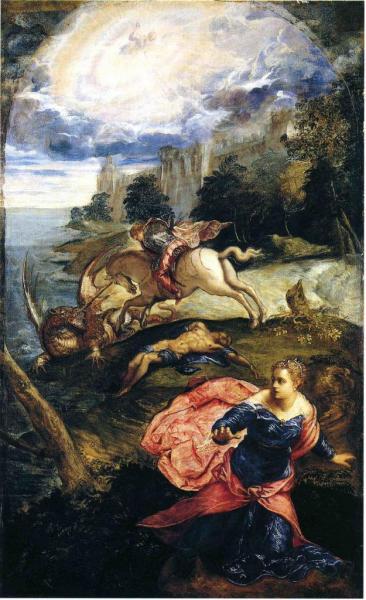 St-Georges et le dragon, Huile sur bois.