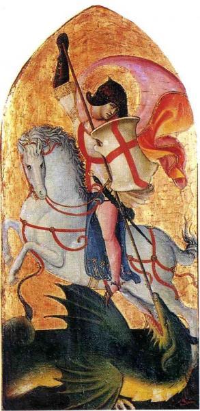 Détail de la Vierge à l'Enfant en majesté. Tempera sur bois