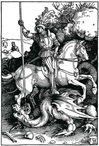 St-Georges et le dragon, Gravure sur bois
