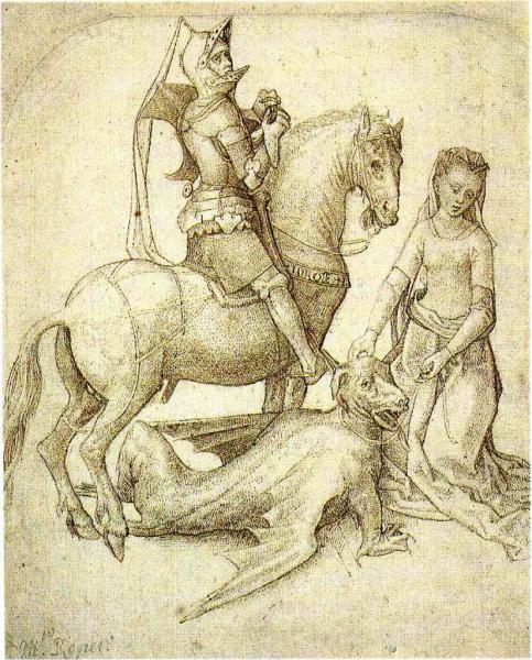St-Georges, le dragon et la princesse - Crayon et encre sur papier