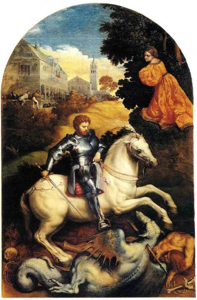 St-Georges et le dragon - Peinture sur bois