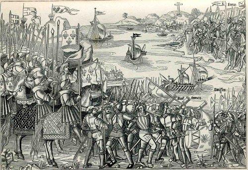 Débarquement des Croisés à Damiette. Arbalétrier à l'avant-plan