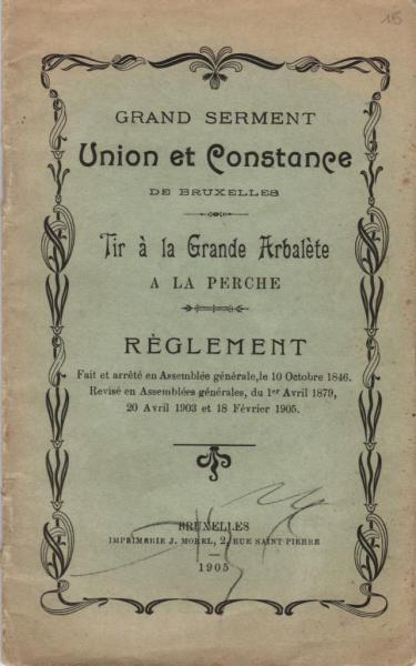 Règlement Tir à la Grande Arbalète à la Perche - 1905