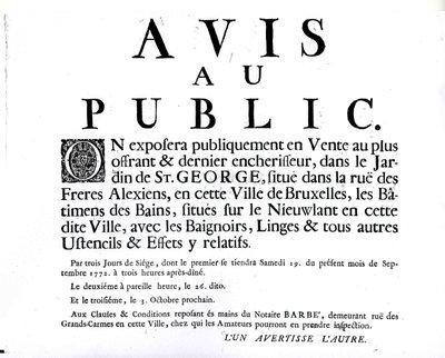Avis de mise en vente (1772)